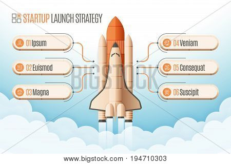 Infographics template with a six structure elements of startup strategy. Rocket or space shuttle launch. Vector illustration