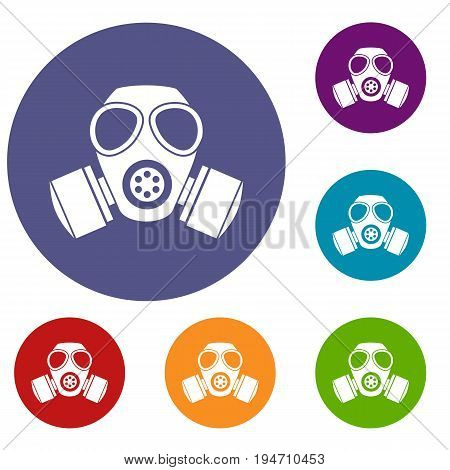 Chemical gas mask icons set in flat circle reb, blue and green color for web