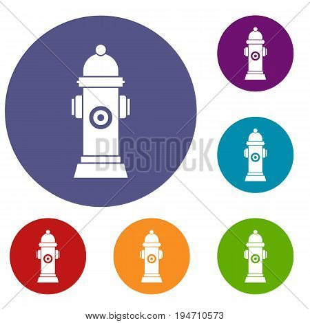 Hydrant icons set in flat circle reb, blue and green color for web