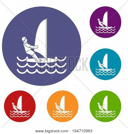 Man on windsurf icons set in flat circle reb, blue and green color for web