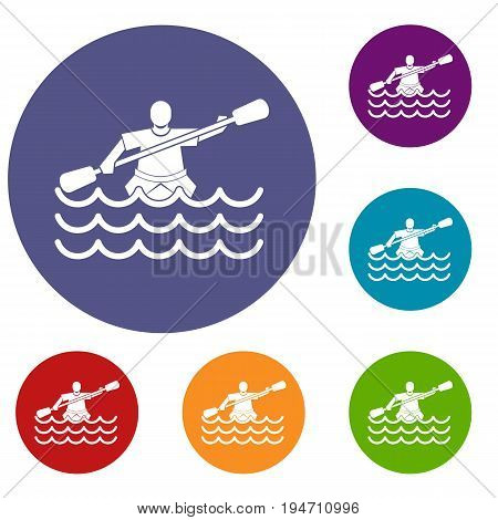 Male athlete in a canoe icons set in flat circle reb, blue and green color for web