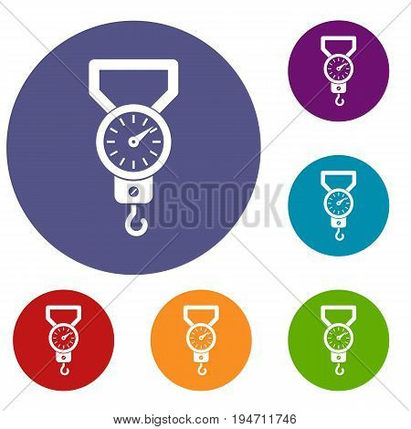 Spring scale icons set in flat circle reb, blue and green color for web
