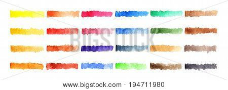 Watercolor stripe brush colorful rainbow palette spot background
