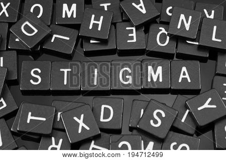 Black letter tiles spelling the word