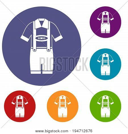 T-shirt and pants with suspenders icons set in flat circle reb, blue and green color for web
