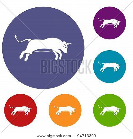Bull icons set in flat circle reb, blue and green color for web