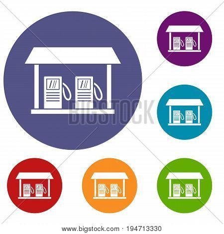 Gas station icons set in flat circle reb, blue and green color for web