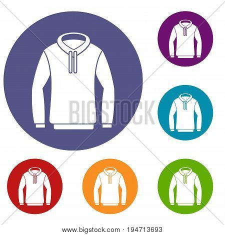 Hoody icons set in flat circle reb, blue and green color for web