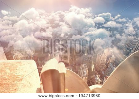 Tranquil scene of clouds against sky against high angle view of downtown district in city