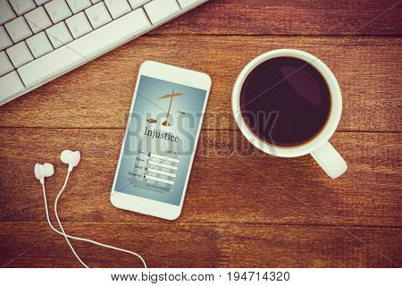 Graphic interface of lawyer contact form  against view of a mug of coffee and a smartphone
