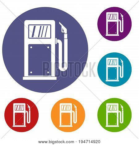 Gasoline pump icons set in flat circle reb, blue and green color for web