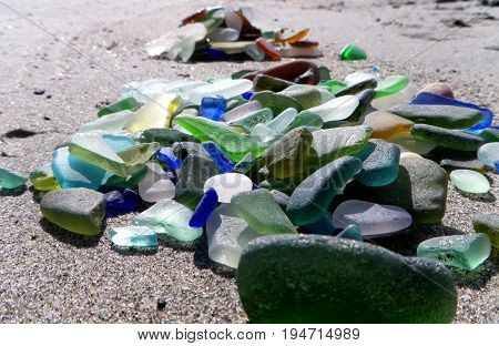 Beautiful sea glass found along the beaches of Vancouver Island, BC
