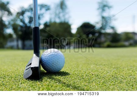 A side view of a white golf ball on the green with a black putter behind it