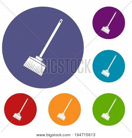 Broom icons set in flat circle reb, blue and green color for web