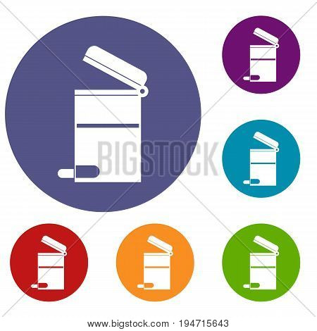 Steel trashcan icons set in flat circle reb, blue and green color for web
