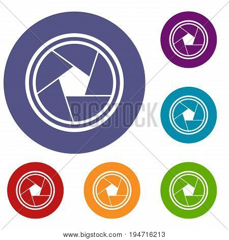 Photo objective icons set in flat circle reb, blue and green color for web
