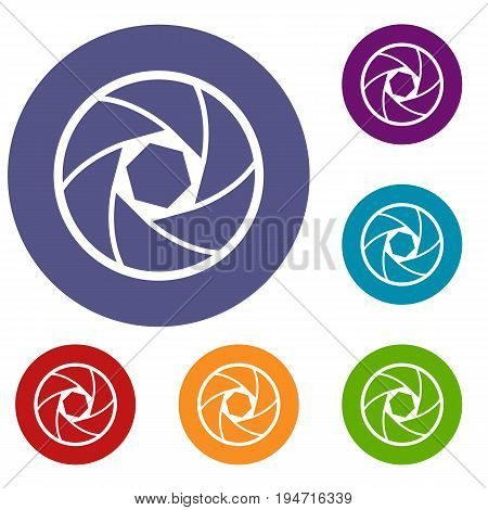 Professional objective icons set in flat circle reb, blue and green color for web