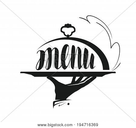 Food service, catering logo. Icon for design menu restaurant or cafe. Vector illustration isolated on white background