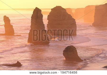 Australia Victoria Great Ocean Road Twelve Apostles at sunset