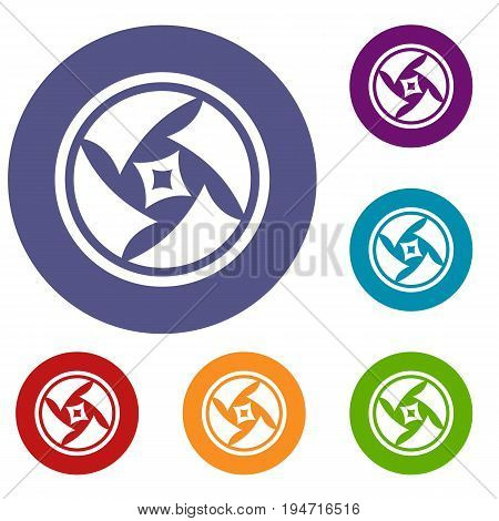 Covered objective icons set in flat circle reb, blue and green color for web