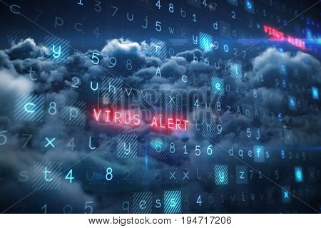 Virus background against scenic view of overcast at night
