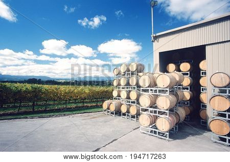 Wine stored in barrels at wineyard, Yarra Valley, Victoria, Australia.