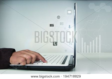 Man using computer payments online shopping and information network connection on screen.omnichannel