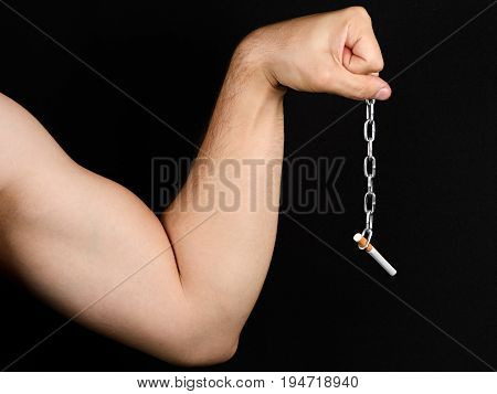 Smoking Is Really Hard, Are You Sure It Should Continue To Do.closeup Of Male Hand Holding A Cigaret