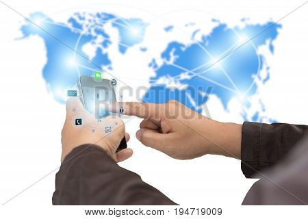 Businesscommunicationsconnectiontechnology concept.businessman using smartphone upload data Business over blurred World map shows the network of communication links.technology.select focus