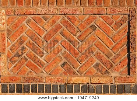 Red Herringbone brick wall seamless background, copy space