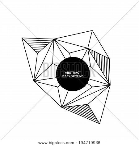 Abstract geometric composition background modern art design style. Simplicity black and white line design element can be used for poster print backdrop vector illustration