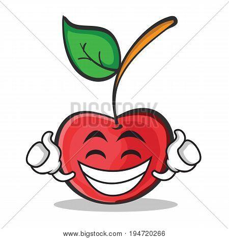 Proud face cherry character cartoon style vector illustration