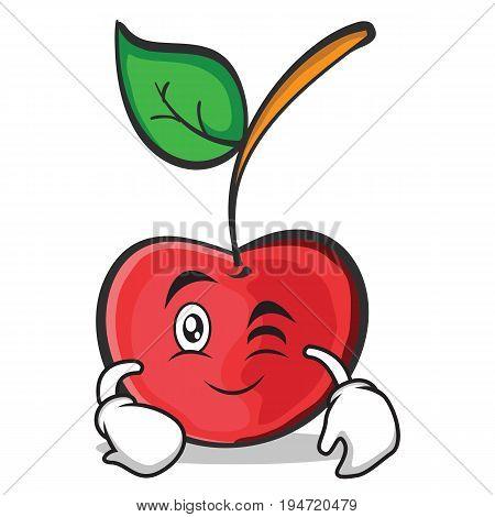 Wink face cherry character cartoon style vector illustration