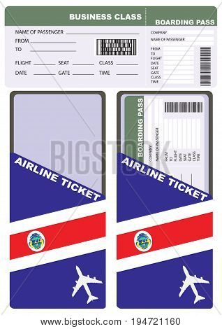 Plane ticket in business class flight to Costa Rica. Service kit air ticket.