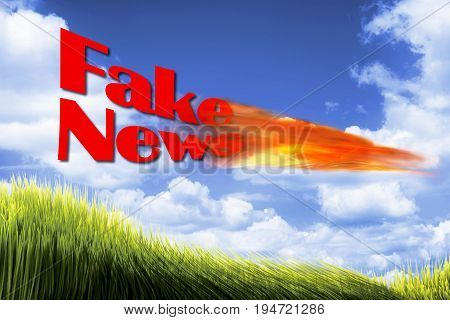 Fake News with fire ball in blue sky.