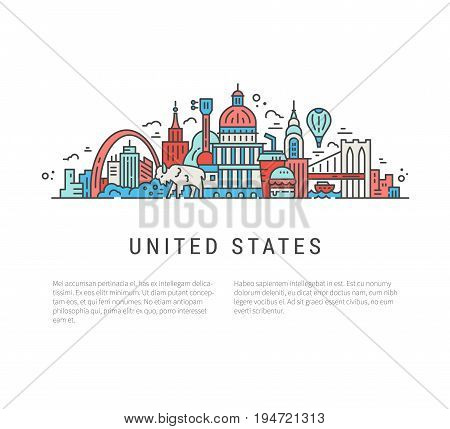 Travel to USA text and the national symbols in line style vector illustration.
