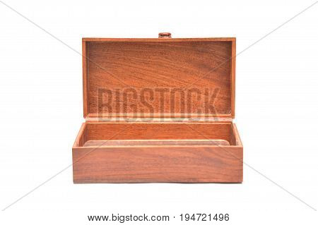 Image of open wooden casket on white background