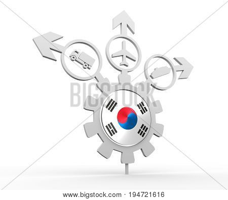 Delivery emblem design. Truck, airplane and ferry boat icons on destination arrows. Flag of the South Korea in the center of gear. 3D rendering