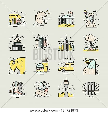 The variety of symbols of America drawn in line style vector illustration.