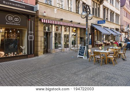 STUTTGART GERMANY - MARCH 18 2016: The historic street Calwer Strasse in the city center. Stuttgart is the capital and largest city of the state of Baden-Wuerttemberg.