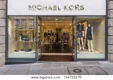 STUTTGART GERMANY - MARCH 18 2016: The boutique Michael Kors. Michael Kors is a New York City-based American sportswear fashion designer.
