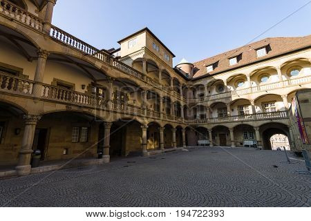 STUTTGART GERMANY - MARCH 18 2016: Inner courtyard of the Old Castle (10th century). Stuttgart is the capital and largest city of the state of Baden-Wuerttemberg.