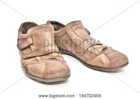 Brown leather man shoes isolated on white background