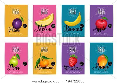 Melon, mandarin, mango, strawberry, plum, banana, apple and pear. Set of vector banners with fruits. Healthy food concept for farmers market menu design.