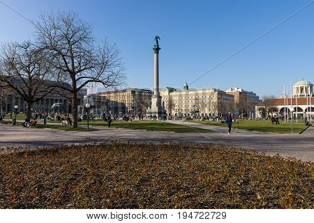 STUTTGART GERMANY - MARCH 18 2016: Schlossplatz the largest square of the city. Stuttgart is the capital and largest city of the state of Baden-Wuerttemberg.