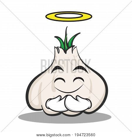 Innocent face garlic cartoon character vector illustration