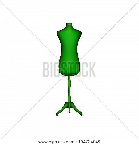 Vintage dress form in green design on white background
