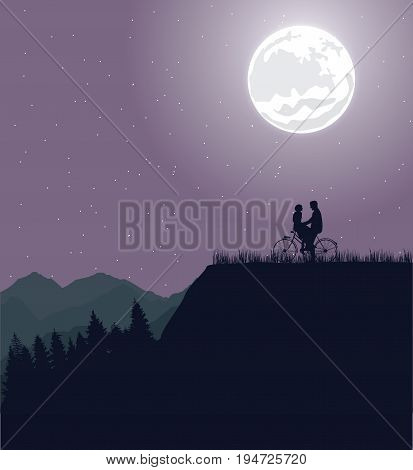 couple silhouette under the moon in bicycle riding bike romance vector