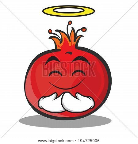 Innocent face pomegranate cartoon character style vector art