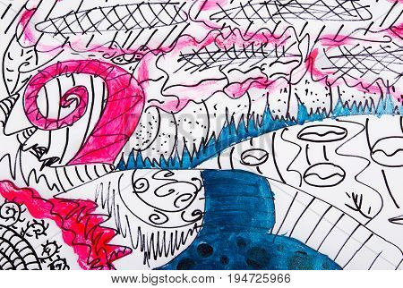 Painted chaotic abstract drawing. Children's sketch the field and the river.